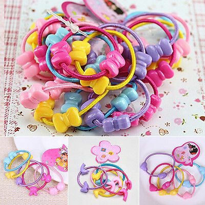 50Pcs Kids Girl Cartoon Assorted Elastic Rubber Hair Rope Band Ponytail Holder
