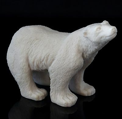 Polar White Bear Marble Sculpture Russian Art Wild Animal Figurine Stone Statue