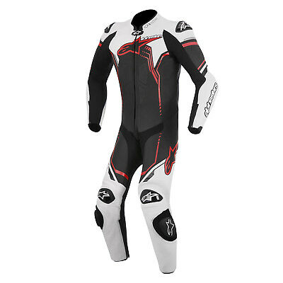 Alpinestars Mens GP Plus 1 Piece Leather Race Suit - White / Red / Black Track