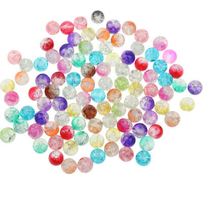100Pcs 8mm Multicolor Glass Spacer Loose Beads for Jewelry Making Findings