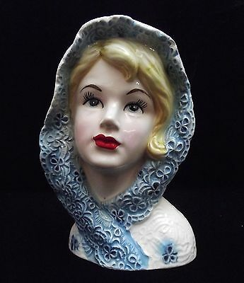 "5 3/4"" Lady Head Vase Headvase Blue White Shamrock Head Scarf/Shawl~Lefton 5920!"