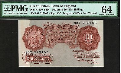 BRITAIN BANK OF ENGLAND 10 SHILLINGS NOTE 1934-39 CHOICE CU-64 PMG P-362c B-236
