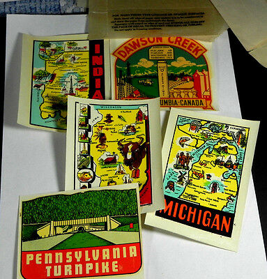 Vintage original c1950s Travel Decal lot of 5 Indiana Illinois Michigan Penn BC