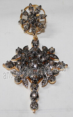 CHRISTMAS SPECIAL 2.10cts ROSE CUT DIAMOND VICTORIAN LOOK SILVER CROSS PENDANT