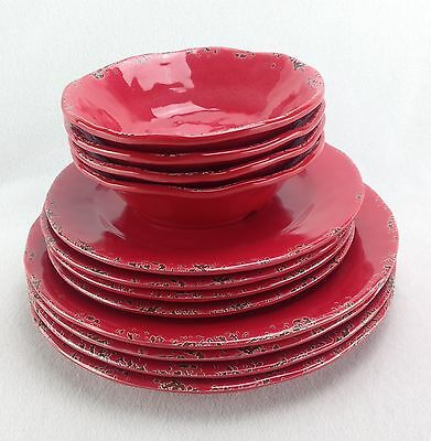 Il Mulino Red Rustic Dinner & Appetizer Plates & Bowls MELAMINE NEW 12 PC Set
