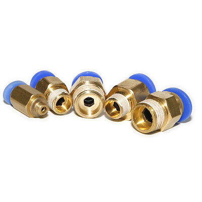 6 pcs Male 1/4 / 1/8/5mm Straight Pneumatic Tube Push in to Connector Fitting