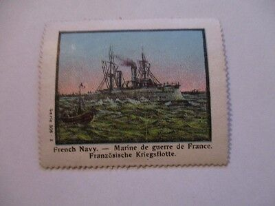 8990- Lj-Old Poster Stamp Shipping-  Ship  French Navy - Marine
