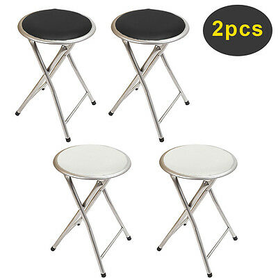 2 x Round Folding Bar Stool Chair Kitchen Breakfast Frame Soft Seat Black White