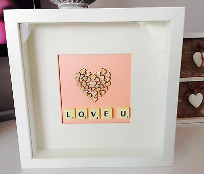 Love Mothers and Valentines Day Scrabble Art Picture Frame Christmas Present