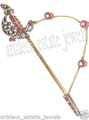 1.10cts ROSE CUT ROUND DIAMOND RUBY .925 SILVER BROOCH