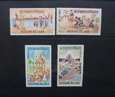 LAOS 1966 Laotian Ceremonies Folklore. Set of 4. Mint Never Hinged. SG186/189.