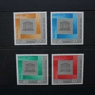 LAOS 1966 UNESCO 20th Anniversary. Set of 4. Mint Never Hinged. SG190/193.