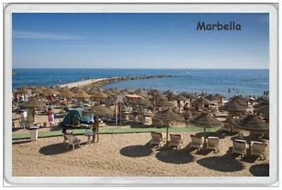 Marbella - Jumbo Fridge Magnet - Beach Scene Spain Spanish Holiday Costa Del Sol