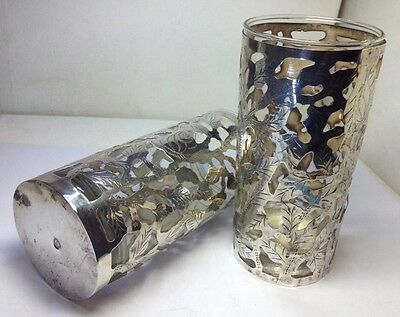 """Vintage Set Of 2 Highball Glasses Cups & 2 Sterling Silver Sleeves Sz 5.5"""""""