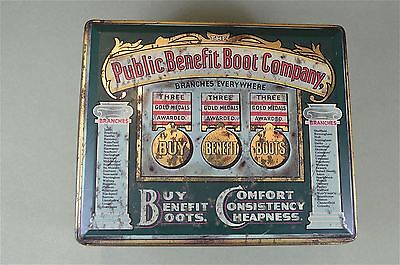 Original vintage Public Benefit Boot Company advertising tin