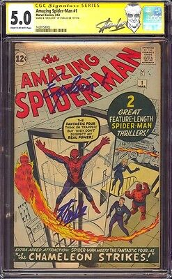 """Amazing Spider-Man 1 Cgc 5.0 Ss Stan """"the Man"""" Lee Quoted """"excelsior!"""" New Label"""