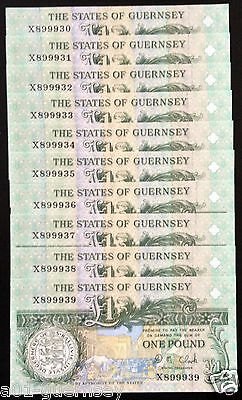 Last Run States Of Guernsey X89993? £1 Note D.m.clark, Ended At X900000 Mint Unc