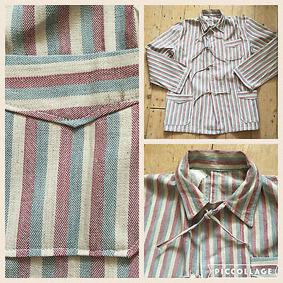 Rare 1930s French Cotton Linen Stripe Pyjamas Mens Workwear Jacket Vintage