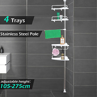 Telescopic Bathroom Shelf Bath Corner Shower Rack Caddy Kitchen Storage Tray