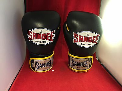 Sandee Authentic 12OZ Muay Thai Black & Yellow Leather Boxing Gloves Sparring