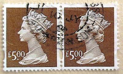 Gb Stamp,used, 5 Pound Brown Machins, Used Condition, Joined Pair, High Value