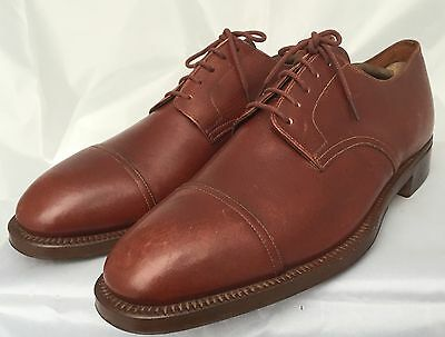 Vintage 1940s Men's Fortnum And Masons Brown Leather Handmade Oxford Shoes 1930s