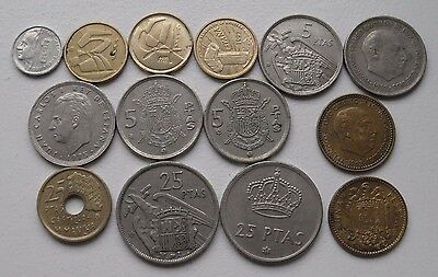 14x pre-euro coins from Spain