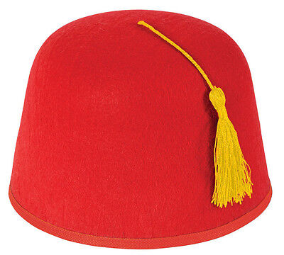 Red Moroccan Fez Hat Turkish Party Adult Fancy Dress Costume Accessory 9166