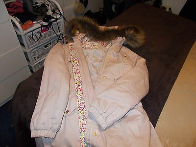 girls marks and spencers cream fur hood coat age 13-14 years