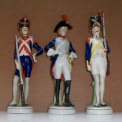 Three  Sitzendorf  Military  Figure` S, All Marked On Base .
