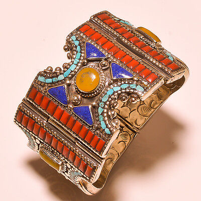 Beautiful Turquoise With Red,yellow Coral & Lapis Lazuli.925 Silver Jewelry Cuff