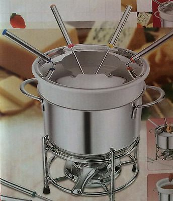 Stainless Steel Complete Fondue Set.  6 Fork Set.  Cheese, Chocolate, Meat, Fish