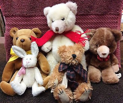 Lot of 4 Vintage Bears 1 Rabbit - Russ, Boyd, Blair and GAF 5-9""