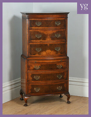 Antique Georgian Style Figured Walnut Bow Front Chest on Chest Drawers Tallboy