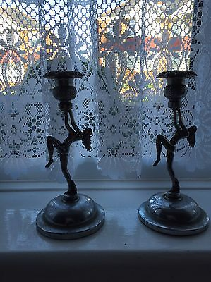 Pair Of Silver Art Decco Style Candlestick Holders