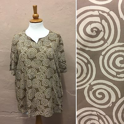SIZE 16 - VINTAGE BROWN & BEIGE SWIRL PRINT BLOUSE TOP OVERSIZED 80s (VB228)