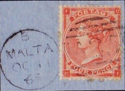 GB Used Abroad in MALTA A25 4d. red on piece.