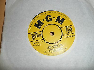 """Connie Francis.who's Sorry Now.mgm.7"""" Vinyl Single.45Rpm"""