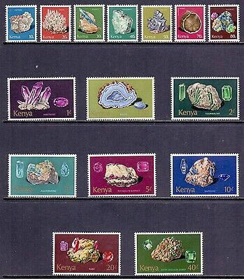 Kenya. Set of 15 NH Mineral stamps issued 1977. SG 107 to 121.