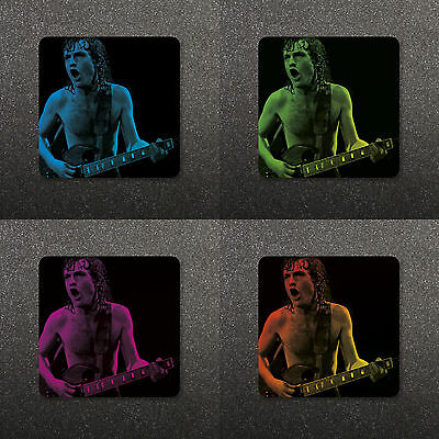 Angus Young Ac/dc - Custom Pop Art Drinks Coaster - Choice Of 4 Colours
