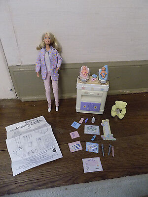 Barbie Happy Family Baby Doctor Blonde Doll Twins 2 Babies w Rocking Table Midge