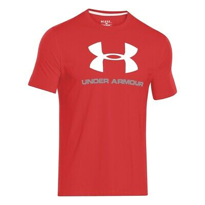 Under Armour Sportstyle Logo T-Shirt  red steel white 1257615-600 Charged Cotton