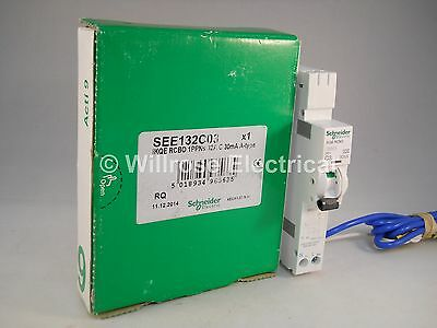 Schneider RCBO 32 Amp 30Ma Type C 32A C32 IKQE KQE Acti9 Square D SEE132C03 NEW