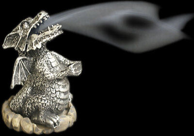Silver Resin Smoking Dragon,Incense Cone Burner~Ashcatcher~uk seller