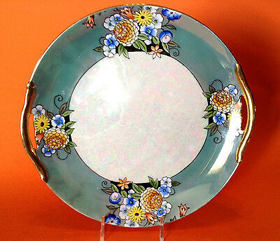 Noritake Iridescent Cake Plate With Brilliant Gilded Handles - Teal Floral Rim