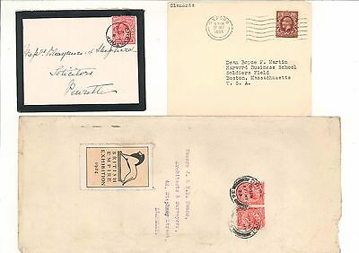 GB Postal History KEVll and KGV  3 covers (Empire Exhibition Oxford College etc