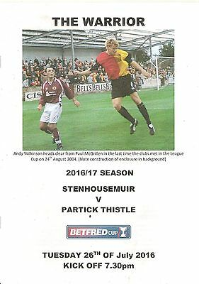 Stenhousemuir -v- Partick Thistle Match Programme Betfred Cup July 2016