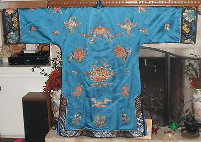 Vintage Chinese Embroidered Forbidden Stitch Robe, Bats, Butterflies, Lingzi
