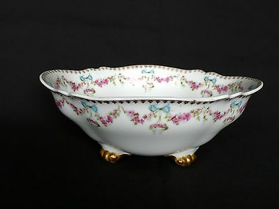 Limoges Pink Swag Roses Blue Ribbons Footed Oval Bowl