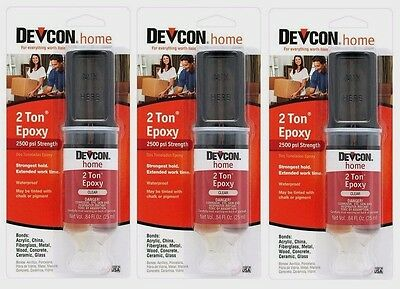 3 DEVCON 31345 Home 2 TON EPOXY High Strength Multi Surface Adhesive CLEAR .84oz